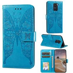 Intricate Embossing Rose Flower Butterfly Leather Wallet Case for Xiaomi Redmi Note 9 - Blue
