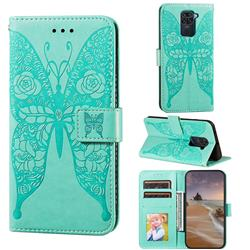 Intricate Embossing Rose Flower Butterfly Leather Wallet Case for Xiaomi Redmi Note 9 - Green