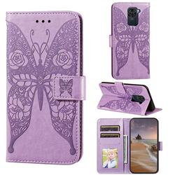 Intricate Embossing Rose Flower Butterfly Leather Wallet Case for Xiaomi Redmi Note 9 - Purple