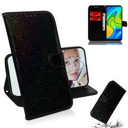 Laser Circle Shining Leather Wallet Phone Case for Xiaomi Redmi Note 9 - Black