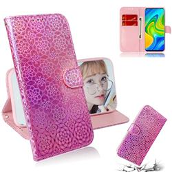 Laser Circle Shining Leather Wallet Phone Case for Xiaomi Redmi Note 9 - Pink