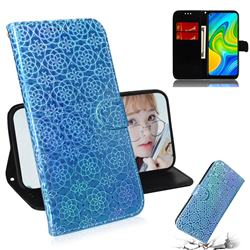 Laser Circle Shining Leather Wallet Phone Case for Xiaomi Redmi Note 9 - Blue