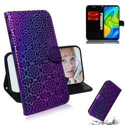 Laser Circle Shining Leather Wallet Phone Case for Xiaomi Redmi Note 9 - Purple