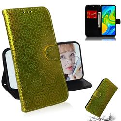Laser Circle Shining Leather Wallet Phone Case for Xiaomi Redmi Note 9 - Golden