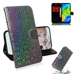 Laser Circle Shining Leather Wallet Phone Case for Xiaomi Redmi Note 9 - Silver