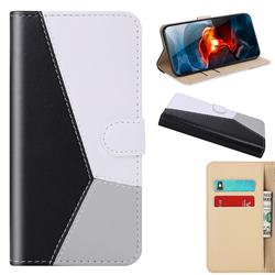 Tricolour Stitching Wallet Flip Cover for Xiaomi Redmi Note 9 - Black