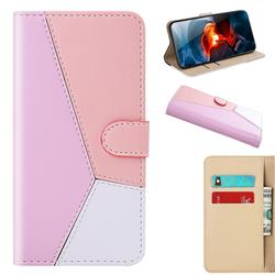 Tricolour Stitching Wallet Flip Cover for Xiaomi Redmi Note 9 - Pink
