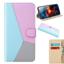 Tricolour Stitching Wallet Flip Cover for Xiaomi Redmi Note 9 - Blue