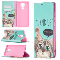 Hand Up Cat Slim Magnetic Attraction Wallet Flip Cover for Xiaomi Redmi Note 9
