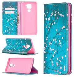 Plum Blossom Slim Magnetic Attraction Wallet Flip Cover for Xiaomi Redmi Note 9