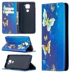 Gold Butterfly Slim Magnetic Attraction Wallet Flip Cover for Xiaomi Redmi Note 9