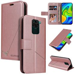 GQ.UTROBE Right Angle Silver Pendant Leather Wallet Phone Case for Xiaomi Redmi Note 9 - Rose Gold
