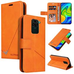 GQ.UTROBE Right Angle Silver Pendant Leather Wallet Phone Case for Xiaomi Redmi Note 9 - Orange