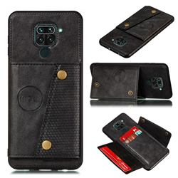 Retro Multifunction Card Slots Stand Leather Coated Phone Back Cover for Xiaomi Redmi Note 9 - Black