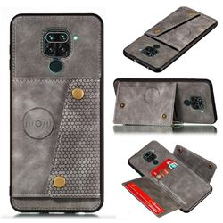 Retro Multifunction Card Slots Stand Leather Coated Phone Back Cover for Xiaomi Redmi Note 9 - Gray