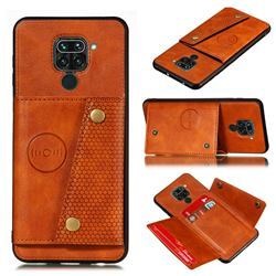 Retro Multifunction Card Slots Stand Leather Coated Phone Back Cover for Xiaomi Redmi Note 9 - Brown