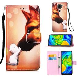 Hound Kiss Matte Leather Wallet Phone Case for Xiaomi Redmi Note 9