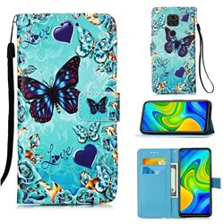 Love Butterfly Matte Leather Wallet Phone Case for Xiaomi Redmi Note 9