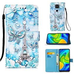 Tower Butterfly Matte Leather Wallet Phone Case for Xiaomi Redmi Note 9