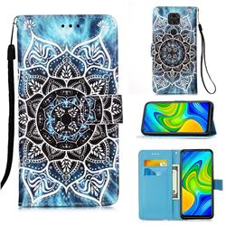 Underwater Mandala Matte Leather Wallet Phone Case for Xiaomi Redmi Note 9
