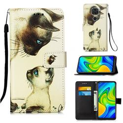 Cat Confrontation Matte Leather Wallet Phone Case for Xiaomi Redmi Note 9