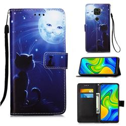 Cat and Moon Matte Leather Wallet Phone Case for Xiaomi Redmi Note 9