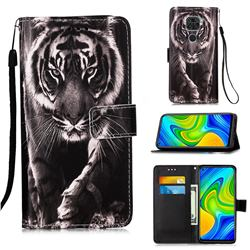 Black and White Tiger Matte Leather Wallet Phone Case for Xiaomi Redmi Note 9