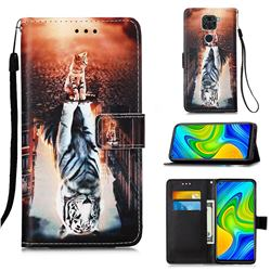 Cat and Tiger Matte Leather Wallet Phone Case for Xiaomi Redmi Note 9