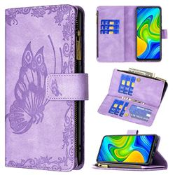 Binfen Color Imprint Vivid Butterfly Buckle Zipper Multi-function Leather Phone Wallet for Xiaomi Redmi Note 9 - Purple