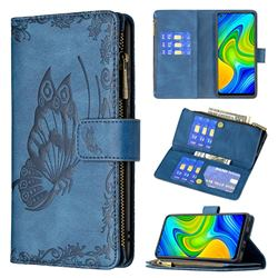 Binfen Color Imprint Vivid Butterfly Buckle Zipper Multi-function Leather Phone Wallet for Xiaomi Redmi Note 9 - Blue