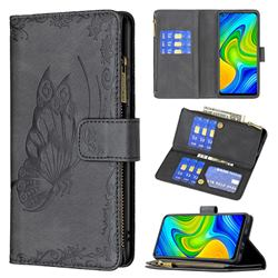 Binfen Color Imprint Vivid Butterfly Buckle Zipper Multi-function Leather Phone Wallet for Xiaomi Redmi Note 9 - Black