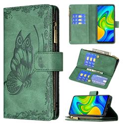 Binfen Color Imprint Vivid Butterfly Buckle Zipper Multi-function Leather Phone Wallet for Xiaomi Redmi Note 9 - Green