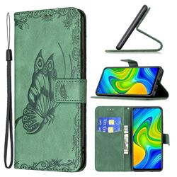 Binfen Color Imprint Vivid Butterfly Leather Wallet Case for Xiaomi Redmi Note 9 - Green