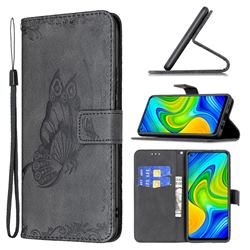 Binfen Color Imprint Vivid Butterfly Leather Wallet Case for Xiaomi Redmi Note 9 - Black