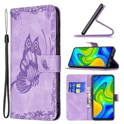 Binfen Color Imprint Vivid Butterfly Leather Wallet Case for Xiaomi Redmi Note 9 - Purple