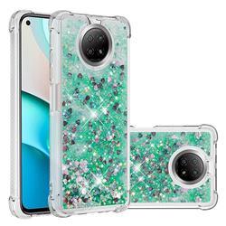 Dynamic Liquid Glitter Sand Quicksand TPU Case for Xiaomi Redmi Note 9 5G - Green Love Heart