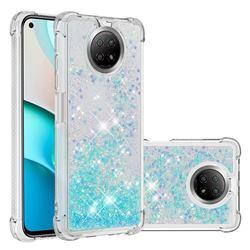 Dynamic Liquid Glitter Sand Quicksand TPU Case for Xiaomi Redmi Note 9 5G - Silver Blue Star