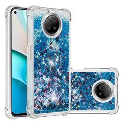 Dynamic Liquid Glitter Sand Quicksand TPU Case for Xiaomi Redmi Note 9 5G - Blue Love Heart