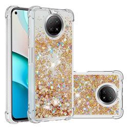 Dynamic Liquid Glitter Sand Quicksand TPU Case for Xiaomi Redmi Note 9 5G - Rose Gold Love Heart