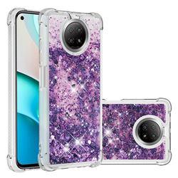Dynamic Liquid Glitter Sand Quicksand Star TPU Case for Xiaomi Redmi Note 9 5G - Purple