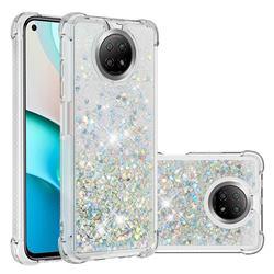 Dynamic Liquid Glitter Sand Quicksand Star TPU Case for Xiaomi Redmi Note 9 5G - Silver