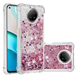 Dynamic Liquid Glitter Sand Quicksand Star TPU Case for Xiaomi Redmi Note 9 5G - Diamond Rose