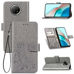 Embossing Imprint Four-Leaf Clover Leather Wallet Case for Xiaomi Redmi Note 9 5G - Grey