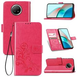 Embossing Imprint Four-Leaf Clover Leather Wallet Case for Xiaomi Redmi Note 9 5G - Rose Red