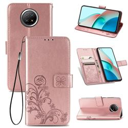 Embossing Imprint Four-Leaf Clover Leather Wallet Case for Xiaomi Redmi Note 9 5G - Rose Gold