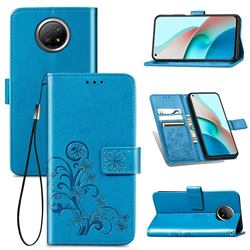 Embossing Imprint Four-Leaf Clover Leather Wallet Case for Xiaomi Redmi Note 9 5G - Blue