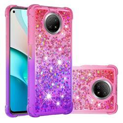 Rainbow Gradient Liquid Glitter Quicksand Sequins Phone Case for Xiaomi Redmi Note 9 5G - Pink Purple