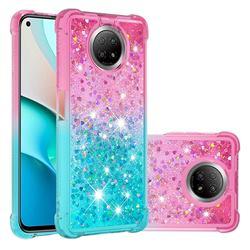 Rainbow Gradient Liquid Glitter Quicksand Sequins Phone Case for Xiaomi Redmi Note 9 5G - Pink Blue