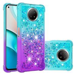 Rainbow Gradient Liquid Glitter Quicksand Sequins Phone Case for Xiaomi Redmi Note 9 5G - Blue Purple