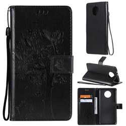 Embossing Butterfly Tree Leather Wallet Case for Xiaomi Redmi Note 9 5G - Black